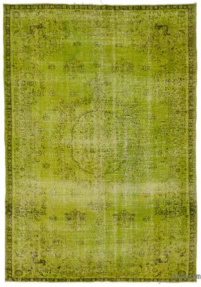 Green Over-dyed Turkish Vintage Rug - 6'10'' x 9'9'' (82 in. x 117 in.)
