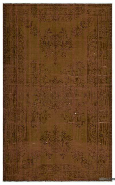 Brown Over-dyed Turkish Vintage Rug - 5'10'' x 9'3'' (70 in. x 111 in.)