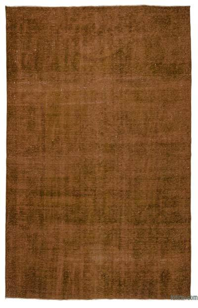Brown Over-dyed Turkish Vintage Rug - 6'3'' x 9'9'' (75 in. x 117 in.)