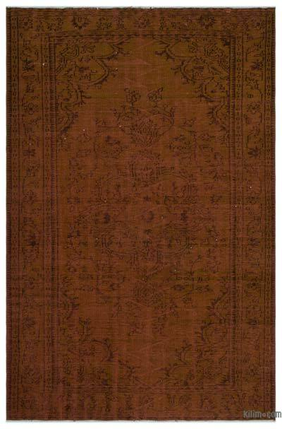 Brown Over-dyed Turkish Vintage Rug - 5'7'' x 8'6'' (67 in. x 102 in.)