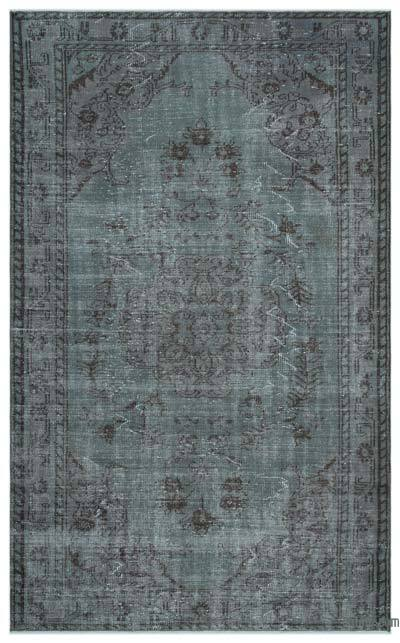 Grey Over-dyed Turkish Vintage Rug - 5'4'' x 8'8'' (64 in. x 104 in.)