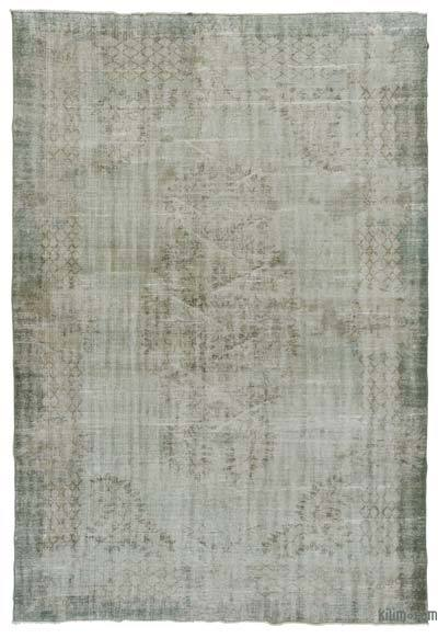 Light Blue Over-dyed Turkish Vintage Rug - 6'11'' x 10'3'' (83 in. x 123 in.)