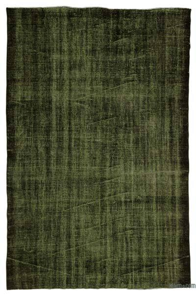 Green Over-dyed Turkish Vintage Rug - 5'2'' x 8'1'' (62 in. x 97 in.)