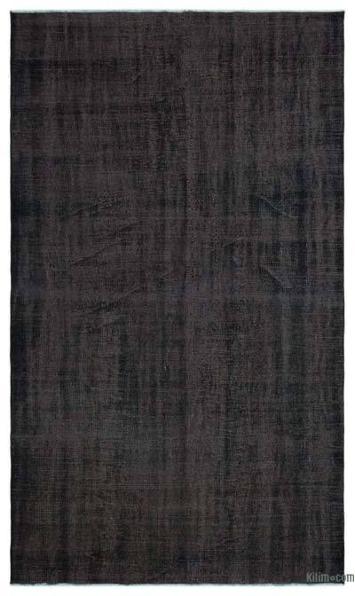 Black Over-dyed Turkish Vintage Rug - 5'7'' x 9'5'' (67 in. x 113 in.)