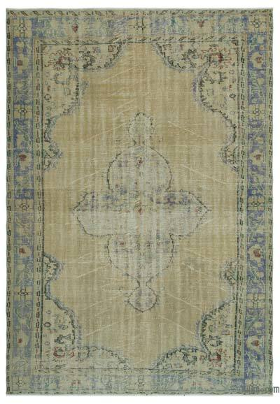 Beige Over-dyed Turkish Vintage Rug - 6'4'' x 9'2'' (76 in. x 110 in.)