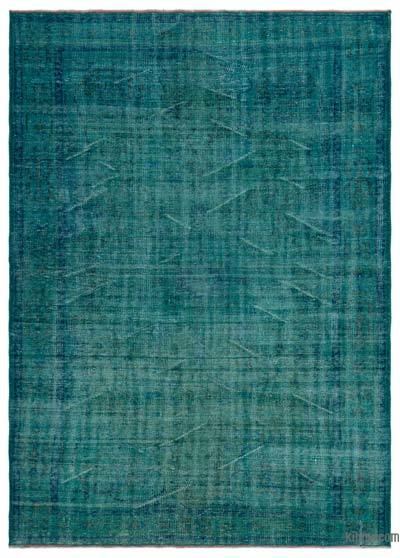 Turquoise Over-dyed Turkish Vintage Rug - 6'3'' x 8'6'' (75 in. x 102 in.)