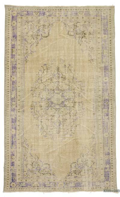 Beige Over-dyed Turkish Vintage Rug - 5'4'' x 9'2'' (64 in. x 110 in.)