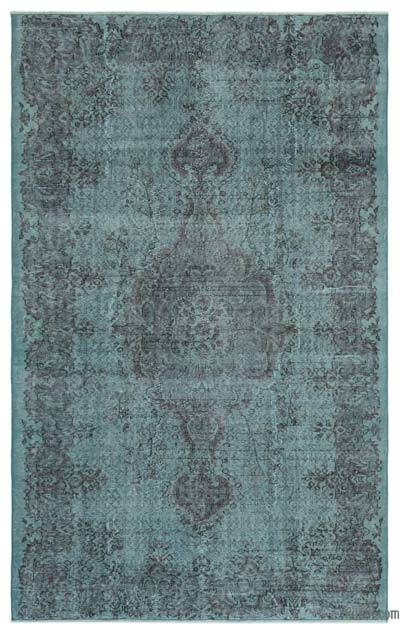 Light Blue Over-dyed Turkish Vintage Rug - 5'7'' x 8'10'' (67 in. x 106 in.)