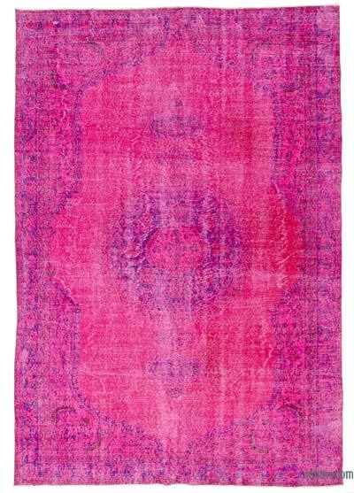Fuchsia Over-dyed Turkish Vintage Rug - 6'9'' x 10'1'' (81 in. x 121 in.)