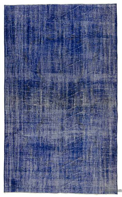 Blue Over-dyed Turkish Vintage Rug - 5'6'' x 9'3'' (66 in. x 111 in.)