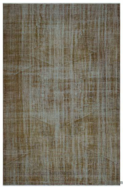 Brown Over-dyed Turkish Vintage Rug - 6'2'' x 9'5'' (74 in. x 113 in.)