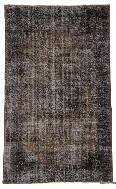 Black, Brown Over-dyed Turkish Vintage Rug - 5'6'' x 9'3'' (66 in. x 111 in.)