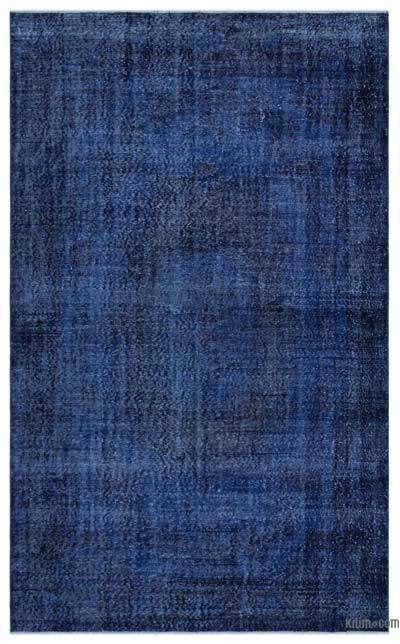 Blue Over-dyed Turkish Vintage Rug - 5'11'' x 9'7'' (71 in. x 115 in.)
