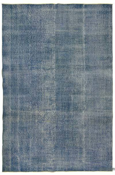 Blue Over-dyed Turkish Vintage Rug - 6'4'' x 9'9'' (76 in. x 117 in.)
