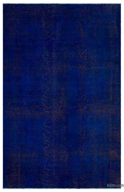 Blue Over-dyed Turkish Vintage Rug - 6'2'' x 9'6'' (74 in. x 114 in.)