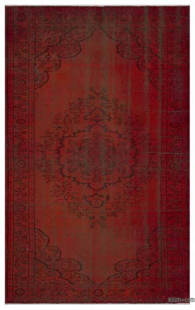 Red Over-dyed Turkish Vintage Rug - 5'11'' x 9'4'' (71 in. x 112 in.)