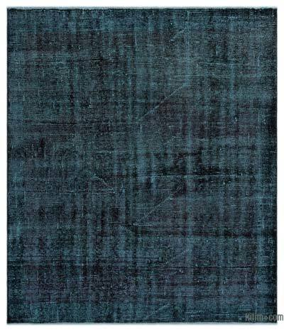 Black Over-dyed Turkish Vintage Rug - 4'5'' x 5'3'' (53 in. x 63 in.)