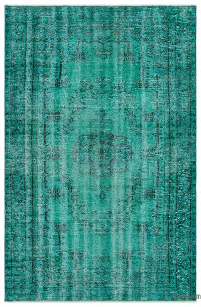 Turquoise Over-dyed Turkish Vintage Rug - 4'5'' x 6'11'' (53 in. x 83 in.)