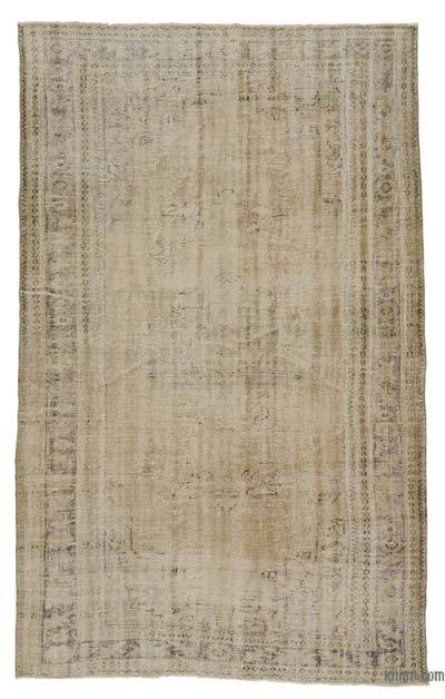 Beige Over-dyed Turkish Vintage Rug - 6'2'' x 10' (74 in. x 120 in.)
