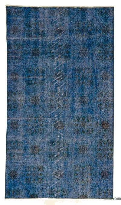 Blue Over-dyed Turkish Vintage Rug - 3'9'' x 6'9'' (45 in. x 81 in.)