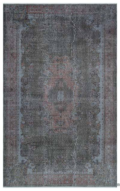 Grey Over-dyed Turkish Vintage Rug - 5'7'' x 8'10'' (67 in. x 106 in.)