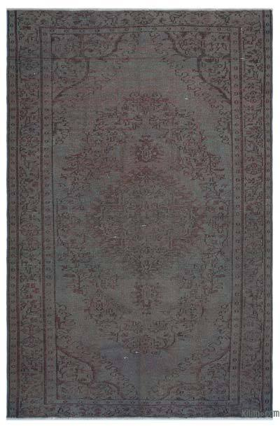 Grey Over-dyed Turkish Vintage Rug - 5'7'' x 8'8'' (67 in. x 104 in.)