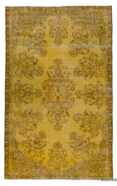 Yellow Over-dyed Turkish Vintage Rug - 6'4'' x 10'1'' (76 in. x 121 in.)