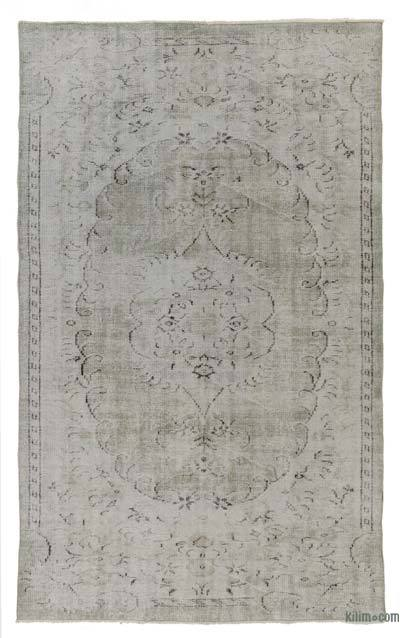 Grey Over-dyed Turkish Vintage Rug - 5'2'' x 8'6'' (62 in. x 102 in.)