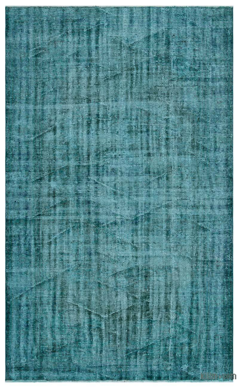 K0030692 Turquoise Over Dyed Turkish Vintage Rug 5 7 Quot X