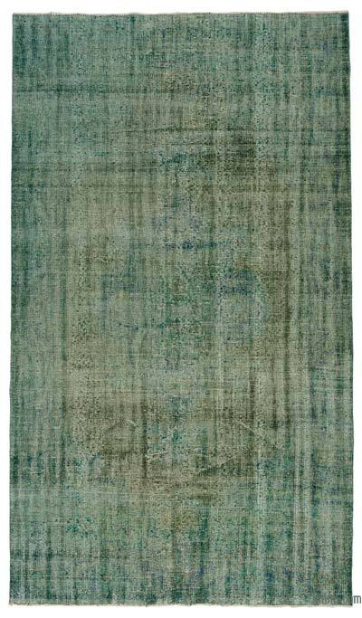 Green Over-dyed Turkish Vintage Rug - 5'8'' x 10' (68 in. x 120 in.)