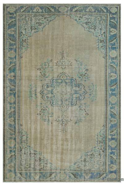 Beige Over-dyed Turkish Vintage Rug - 5'8'' x 8'7'' (68 in. x 103 in.)