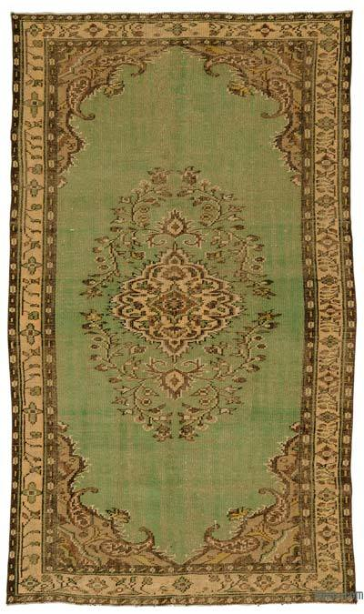 Green Turkish Vintage Area Rug - 5'3'' x 9'2'' (63 in. x 110 in.)