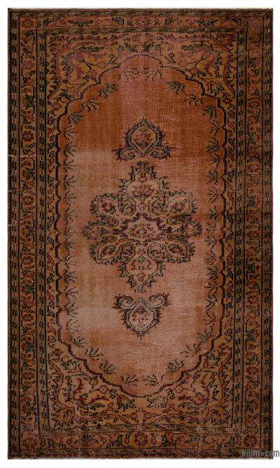 Brown Over-dyed Turkish Vintage Rug - 4'11'' x 8'4'' (59 in. x 100 in.)