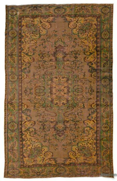 Brown Over-dyed Turkish Vintage Rug - 5'8'' x 9'3'' (68 in. x 111 in.)