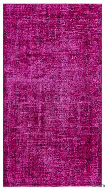 Fuchsia Over-dyed Turkish Vintage Rug - 3'7'' x 6'7'' (43 in. x 79 in.)