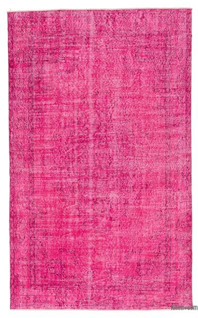 Fuchsia Over-dyed Turkish Vintage Rug - 4'9'' x 8' (57 in. x 96 in.)