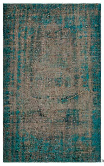 Turquoise Over-dyed Turkish Vintage Rug - 5'6'' x 8'9'' (66 in. x 105 in.)