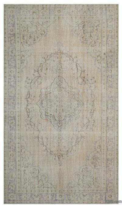 Beige Over-dyed Turkish Vintage Rug - 6'3'' x 10'6'' (75 in. x 126 in.)