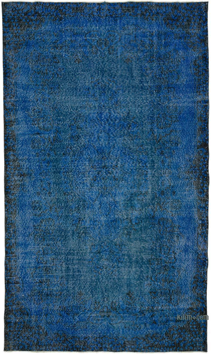 K0031071 Blue Over Dyed Turkish Vintage Rug 5 6 X 9 5