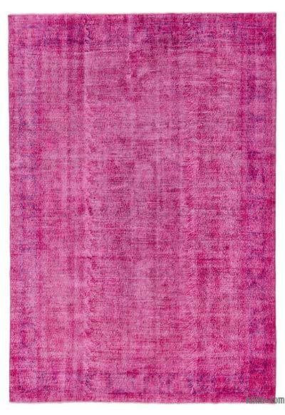 Fuchsia Over-dyed Turkish Vintage Rug - 7'1'' x 10'5'' (85 in. x 125 in.)