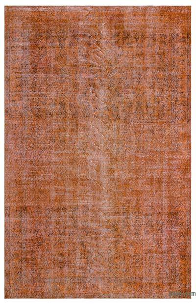 Orange Over-dyed Turkish Vintage Rug - 6'1'' x 9'6'' (73 in. x 114 in.)