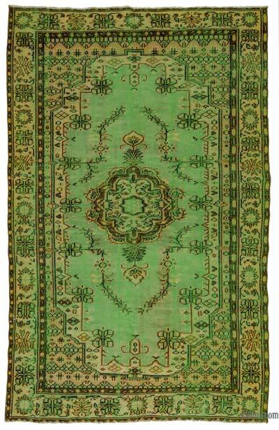 Green Over-dyed Turkish Vintage Rug - 5'10'' x 9'2'' (70 in. x 110 in.)