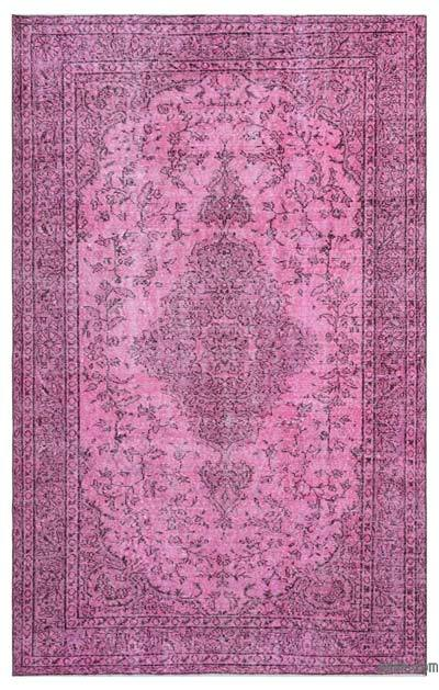 Pink Over-dyed Turkish Vintage Rug - 5'9'' x 9'1'' (69 in. x 109 in.)