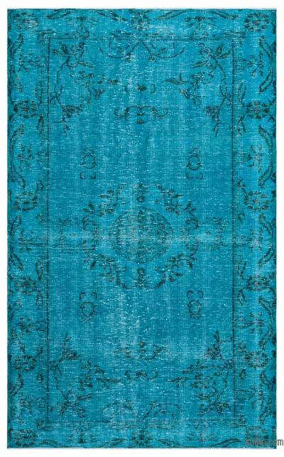 Turquoise Over-dyed Turkish Vintage Rug - 5'1'' x 8'3'' (61 in. x 99 in.)