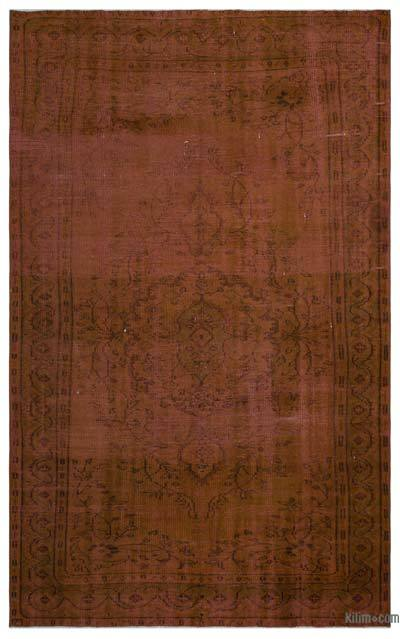 Brown Over-dyed Turkish Vintage Rug - 5'10'' x 9'7'' (70 in. x 115 in.)