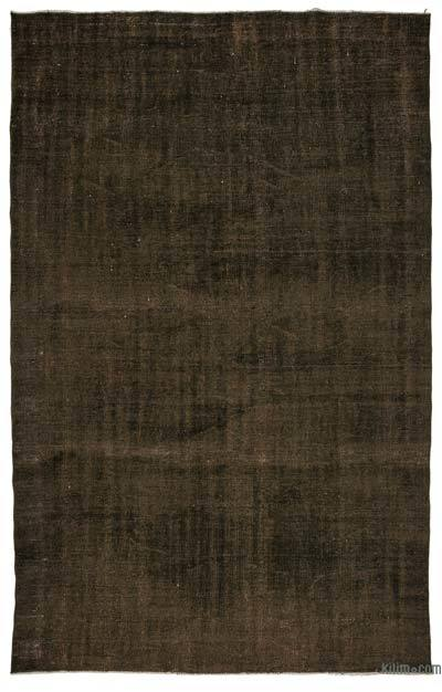 Black, Brown Over-dyed Turkish Vintage Rug - 5'9'' x 9' (69 in. x 108 in.)