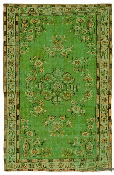 Green Turkish Vintage Area Rug - 5'1'' x 8' (61 in. x 96 in.)