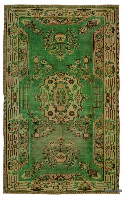 Green Turkish Vintage Area Rug - 5'3'' x 8'9'' (63 in. x 105 in.)
