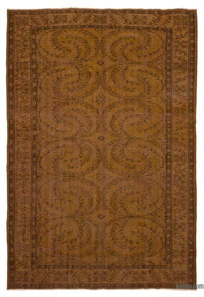 Brown Over-dyed Turkish Vintage Rug - 6'4'' x 9'3'' (76 in. x 111 in.)
