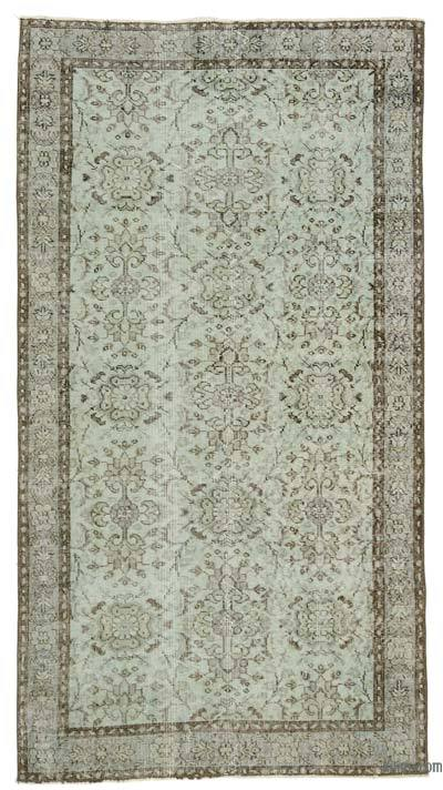 Green Over-dyed Turkish Vintage Rug - 3'11'' x 7'3'' (47 in. x 87 in.)